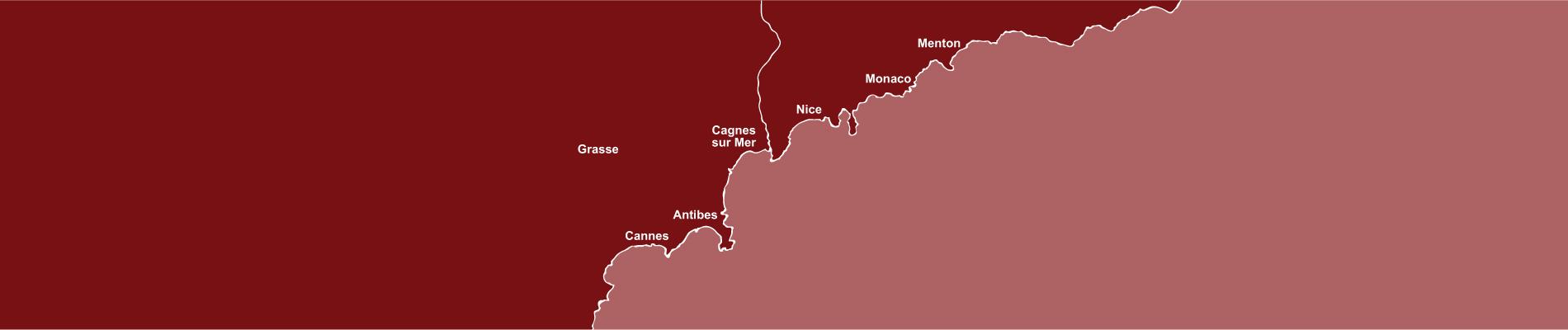 Carte de la côte niçoise